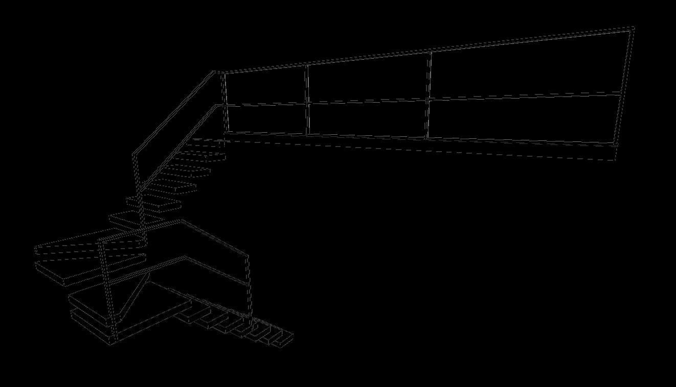 Schets zwevende houten trap