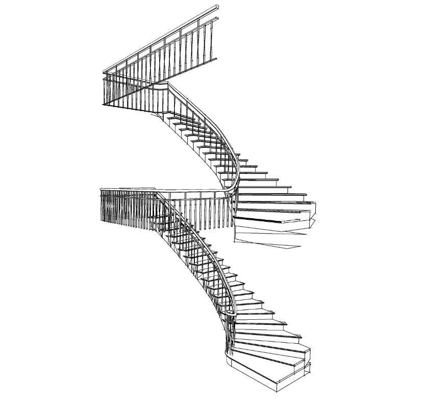 Houten trappen met stalen hekwerk