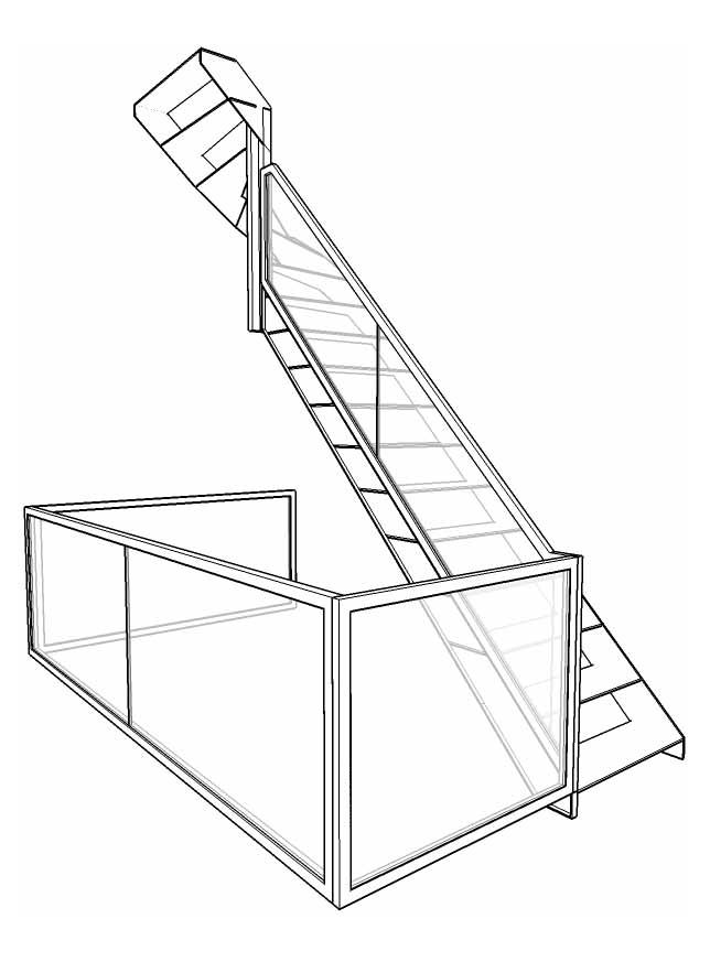 Schets zwevende trap met glas