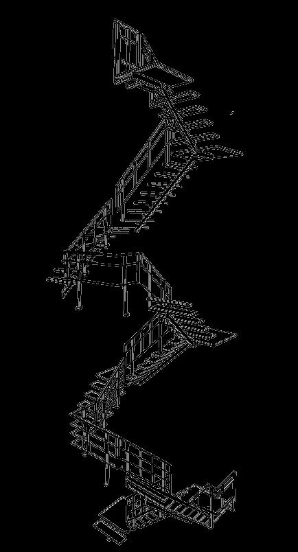 Zwevende stalen trapboom